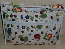 BNWT-Vintage Design-Country Fruits on Beige-Project/Knitting/Crochet/Craft Bag