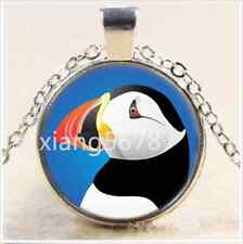 NEW Cute Puffin Photo Cabochon Glass Tibet Silver Chain Pendant Necklace w15