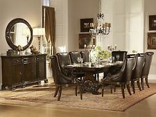 CAMILLE-7pc European Traditional Cherry Rectangular Dining Room Table Chairs Set
