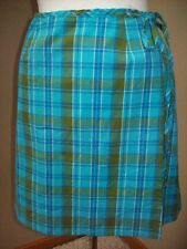 GAS Blue Green Plaid Wrap Casual Career Above Knee Skirt Size M 5 Buy4Ship FREE