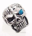 Men's Cigar Skull Blue Eye Stainless Steel Biker Ring Size 8,9,10,11,12,13,14,15