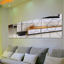 Removable Hot Moire Pattern 7PCS Mirror Wall Sticker Home Decor Mural Art Decal
