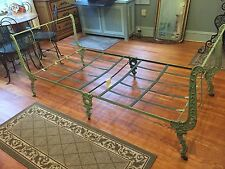 VICTORIAN CIVAL WAR GREEN IRON OFFICER'S CAMPAIGN SLEIGH BED DAY BED FOLDING