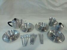 Vintage ITALY Aluminum CHILD'S PLAY SET Tea Pot CUPS/PLATES Creative Playthings