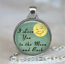 I love you to the moon and back Silver plated Glass Chain Pendant/Necklace,