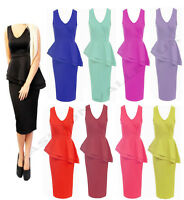 NEW WOMENS V-NECK FRILL PEPLUM LADIES BODYCON PENCIL MIDI PARTY DRESS TOP 8 -22