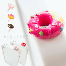 2pc CandyTopping Donut 3.5mm Anti Dust Plug Ear Cap Cover Stopper LtPink+HotPink