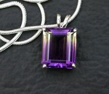 12x10 Emerald Bicolor Lab Ametrine Sterling Pendant Necklace FREE Chain EBS6115