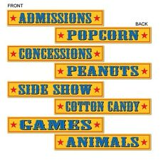 CIRCUS Paper STREET SIGNS (SET OF 4) CARNIVAL Party Decorations Photo Props