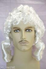 British Judge Sausage Curls and Pigtails Medium Curly Costume Men's Wig