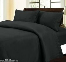 Full Size Black Stripe 500TC 100% Cotton Bed Sheet Set Flat-Fitted Sheets 4pc