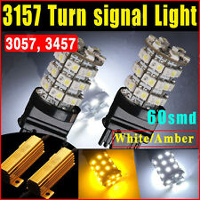 2X 60SMD DUAL COLOR SWITCHBACK WHITE AMBER TURN SIGNAL LED LIGHT BULBS 3057 3157