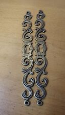 "2 FANCY 7"" EXTRA LONG PLATE ESCUTCHEONS KEY HOLE ANTIQUE BRASS EFFECT DOOR BOX 2"