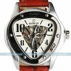 New Men Brown Leather Triangle White Case Sport Auto Mechanical Wrist Watch