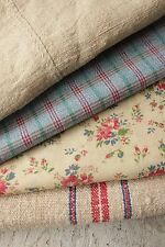 Vintage French fabrics antique material PROJECT BUNDLE  seat cover + linen