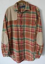 Vtg POLO Ralph Lauren Shoulder & Elbow Patches Plaid Tartan Flannel Shirt Mens L