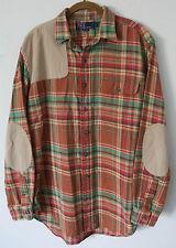 Vtg POLO Ralph Lauren Shoulder & Elbow Patches Plaid Tartan Flannel Shirt Mens L