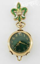 Eflin Guilloche Enamel 14K Gold Open Face Pendant Watch, Circa 1914
