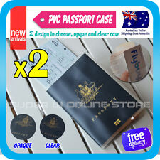 2x Passport Holder Travel Wallet Card Protector Ticket PVC Case Clear Opaque