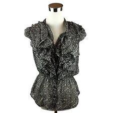 MILEY CYRUS MAX AZRIA Juniors Gray Animal Print Ruffle Front Blouse Top Size XL