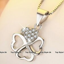 Clover Love Heart Silver Necklace Pendant Chain Crystal Jewelry Gifts for Her C3