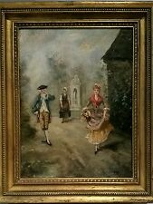 Antique Oil on Wood Panel Aristocratic 18th C Scene Painting, Signed
