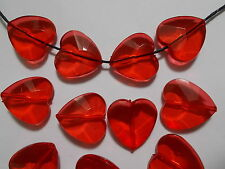 30pcs 20mm Acrylic Faceted HEART Beads - RED Transparent SUNCATCHER BABY SHOWER