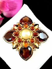 JOAN RIVERS GOLD FAUX PEARL TOPAZ RHINESTONE AMBER CABOCHON MALTESE CROSS BROOCH