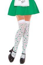 Irish Green Shamrock Stockings Women Thigh High White Clover St Patricks Ireland
