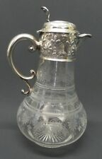Antique W. & G. Sissons Silver and Cut Glass Wine Claret Jug c.1876