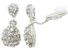 Drop CLIP ON Earrings Silver Plated Crystal Drop Dangle Womens Girls CZ Gatsby