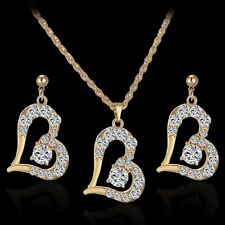 Sweet Ladies Rhinestone Crystal Heart Pendant Love Necklace Earrings Jewelry Set