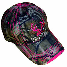 Ladies Camo Cutie Cap,Mossy Oak Full Camo with HOT pink Trim