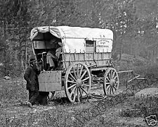 Photograph Vintage US Civil War Military Telegraph Battery Wagon Year 1864 8x10