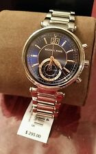 Michael Kors Sawyer Navy Blue and Silver Tone Chronograph Crystal Watch NEW