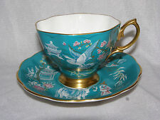 Royal Albert TEAL ORIENTAL Pattern Cup & Saucer Set