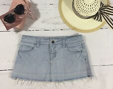 TOPSHOP MOTO Size 10 Light Denim Short Mini Skirt Frayed