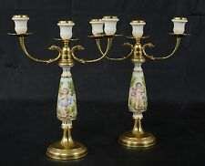 2 Capodimonte Porcelain Brass Candelabra Three Candle