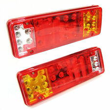 12v Led Rear Tail Lights Truck Lorry  Van Caravan Trailer Transporter Set Of 2