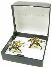 HORSE AND JOCKEY RIDER RACING GOLD CUFF LINKS CUFFLINKS SHIRT GIFT BOX NEW UK