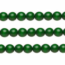 Wood Round Beads Dark Green 6mm 16 Inch Strand