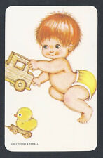 #920.176 Blank Back Swap Cards  -MINT- Baby with toy car & duckling