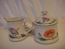 Vileroy & Boch China Amapola Pattern Sugar Bowl & Creamer Set Mint