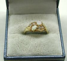 Beautiful 9ct Gold Opal And White Tourmaline Ladies Dress Ring