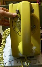 VINTAGE YELLOW WESTERN ELECTRIC ROTARY DIAL WALL PHONE LONG CORD RETRO TELEPHONE
