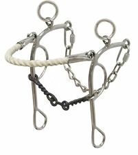 Showman Rope Nose Combo Hackamore Stainless Steel Twisted Wire Dog Bone Bit 5""