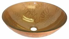 Accient Fossil Bronze Modern Tempered Glass Vessel Bathroom Sink + Free Pop Up