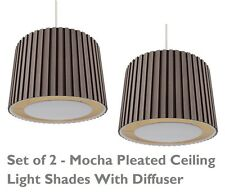 2 x Mocha 350mm Pleated Non Electric Lamp Shade Ceiling Light With Ivory Diffuse