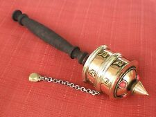 "Tibetan PRAYER WHEEL for Dharma Practice Copper Metal Brass 8"" Long"