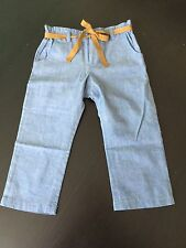 NWT French Designer Bonpoint Luxury Pants Size 2 Blue 100% cotton